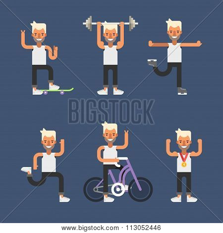 Kinds Of Sport. Set Of Flat Style Vector Illustrations Of Young Men Engaged In Various Sports. Skate