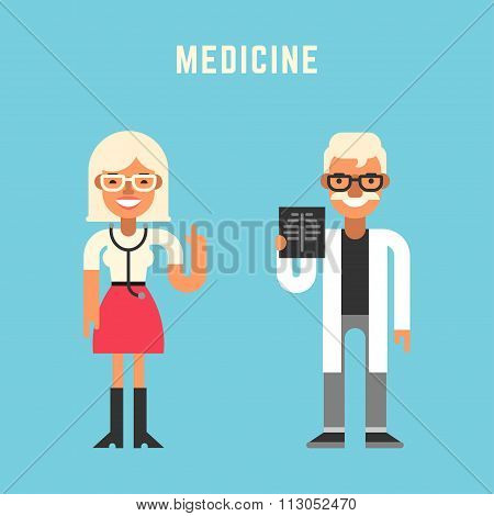 Medicine Concept. Male And Female Cartoon Characters. Flat Design Vector Illustration