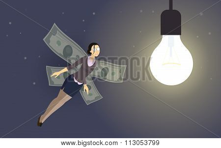 business-woman investor with money-wings flying to the lightbulb of startup idea