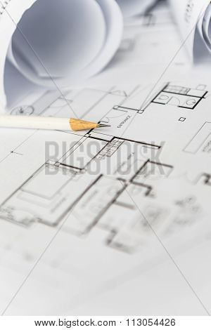White Pencil On Architectural For Construction Drawings