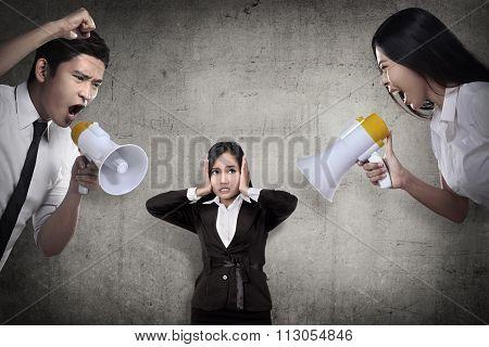 Business Leader Give Order Via Megaphone To Subordinate