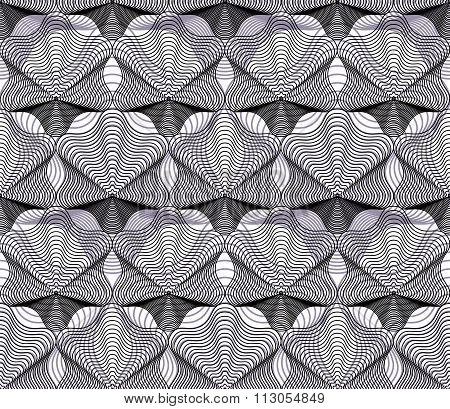 Monochrome Vector Ornamental Pattern, Seamless Art Background Decorated
