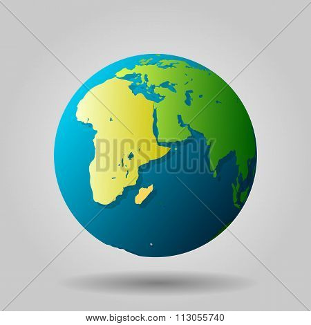 Globe icon with vector shadows and map of the continents of the world