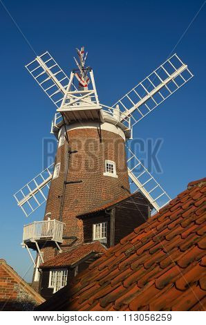 Cley, Norfolk, England - December 29, 2015: Cley windmill available as a holiday let, Norfolk England