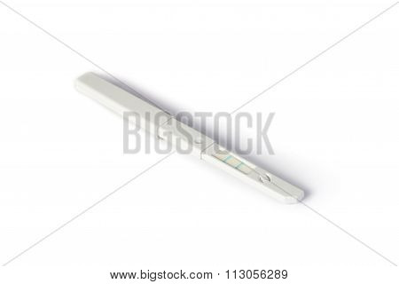 positive pregnancy test on white background, isolate