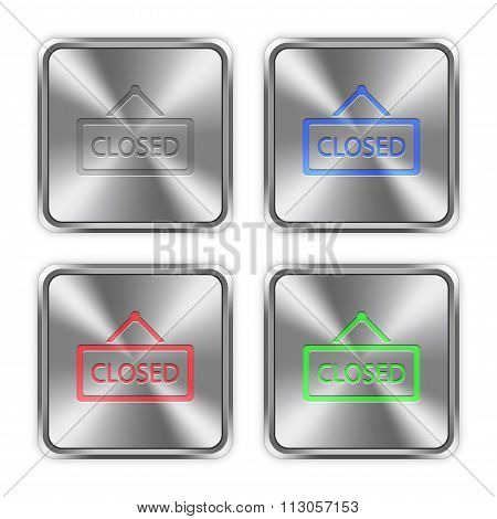 Color Closed Sign Steel Buttons