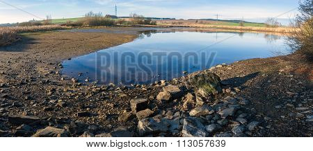 Drained Pond In Winter
