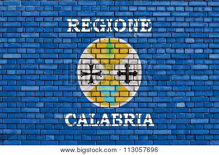 Flag Of Calabria Painted On Brick Wall