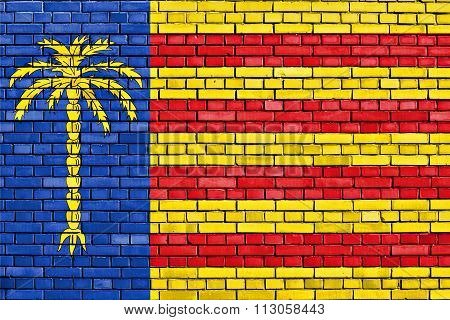 Flag Of Cunit Painted On Brick Wall