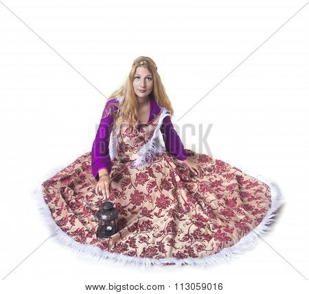 Medieval Girl In Warm Dress Looks Up