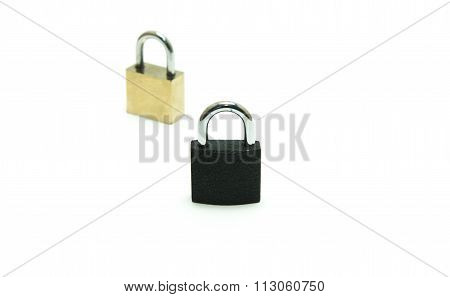 Black Padlock(combination Lock, Bicycle Lock) Locked Isolated White