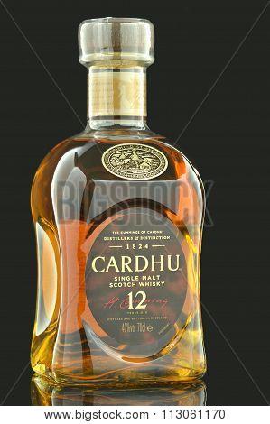 Cardhu whisky isolated on dark background