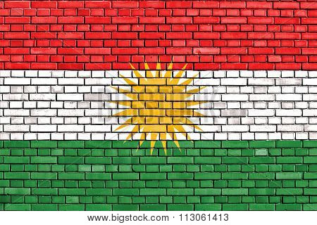 Flag Of Kurdistan Painted On Brick Wall