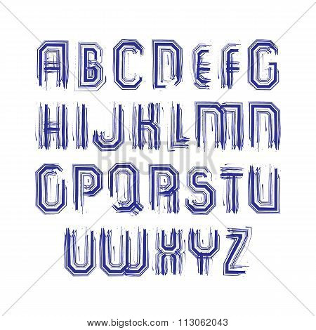 Multicolored Handwritten Striped Uppercase Letters, Vector Doodle Brush Typescript, Hand-painted Set