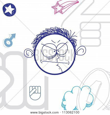Vector Art Colorful Drawing Of Angry Person, Education And Social Network Design Elements Isolated O