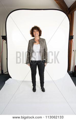 Casual Woman Model In A Professional Studio