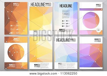 Set of business templates for brochure, flyer or booklet. Abstract multicolored background. Scientif