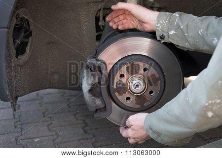 Car Mechanic Checking Car At Auto Repair Shop Service Station,