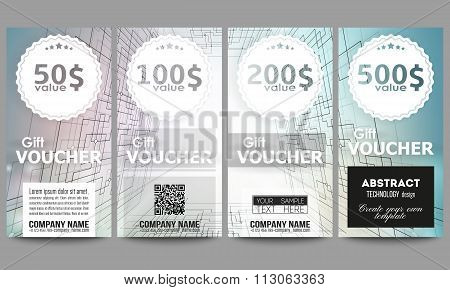 Set of modern gift voucher templates. Abstract vector background, digital technologies, cyber space