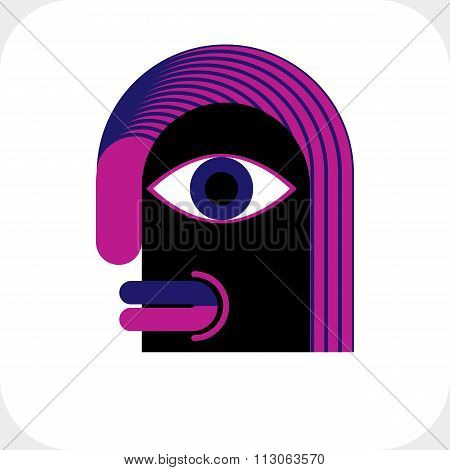 Modernistic Vector Illustration, Geometric Cubism Style Avatar Isolated On White Background. Strange