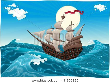 Galleon in the sea.