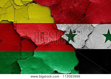 Flags Of Syrian Kurdistan And Syria Painted On Cracked Wall