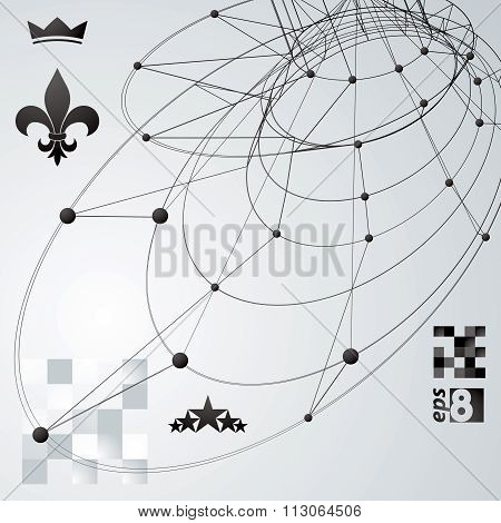 Contemporary Techno Black And White Stylish Construction, Abstract Dimensional Background With Conne