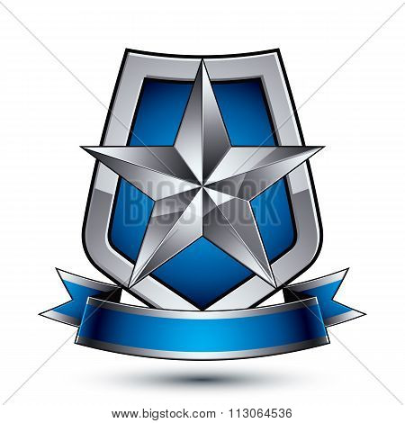 Renown Vector Silver Star Emblem With Wavy Ribbon Placed On A Protection Shield, 3D Sophisticated