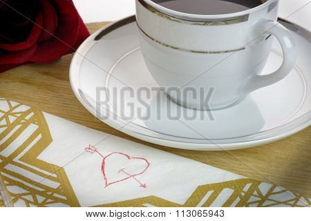 Heart On A Serviette. Love Concept.