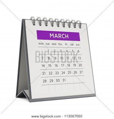3D March Desktop Calendar