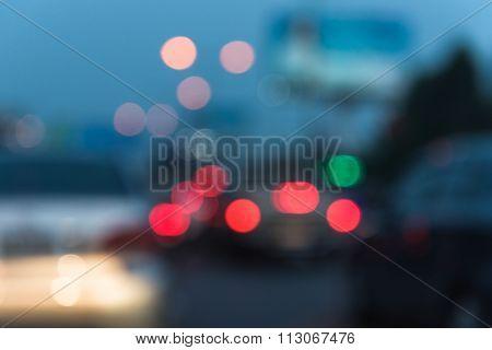 Blur Image Of Traffic Jam In Rush Hour