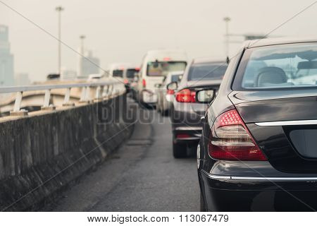 Traffic Jam With Row Of Cars On Expressway