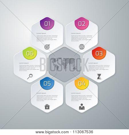 Vector illustration of paper infographics hexagons