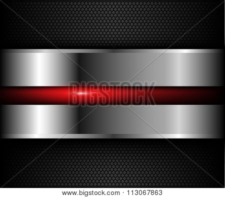Background metallic with red shiny element over holes pattern, vector illustration.