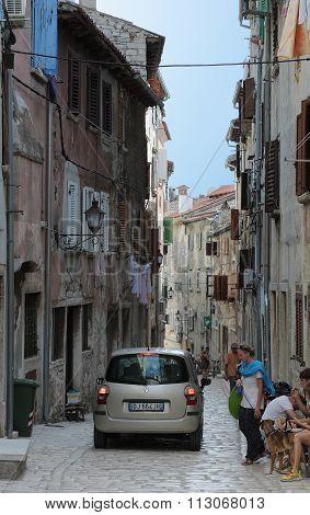 Car In Narrow Lane In Rovinj In Croatia In The Summer Day