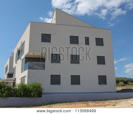 Modern Aparment Building On Sunny Day In Croatia