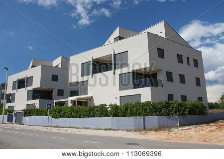 Modern Aparment Building In The Sunny Day  In Croatia