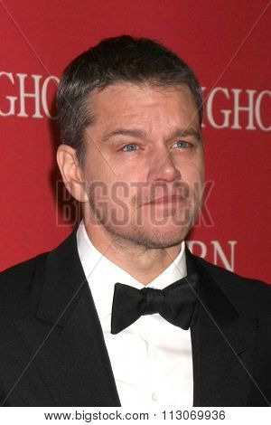 PALM SPRINGS - JAN 2:  Matt Damon at the 27th Palm Springs International Film Festival Gala at the Convention Center on January 2, 2016 in Palm Springs, CA