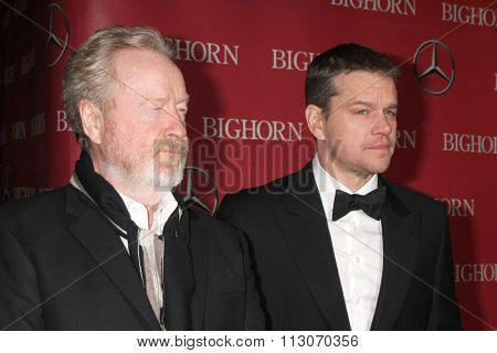 PALM SPRINGS - JAN 2:  Ridley Scott, Matt Damon at the 27th Palm Springs International Film Festival Gala at the Convention Center on January 2, 2016 in Palm Springs, CA