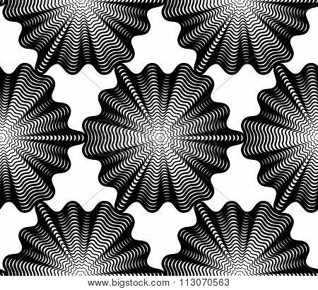 Black And White Illusive Abstract Seamless Pattern With Geometric Figures. Vector Symmetric