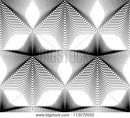 Continuous Vector Pattern With Black Graphic Lines, Decorative Abstract Background Geometric