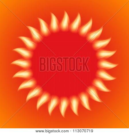 Vector illustration of a fiery sun