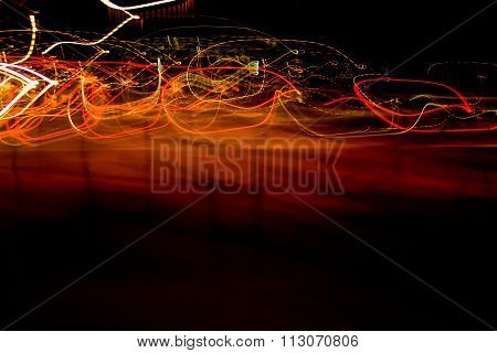 Abstract Light Trails, red on black