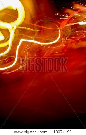 Abstract Light Trails, bright red and yellow