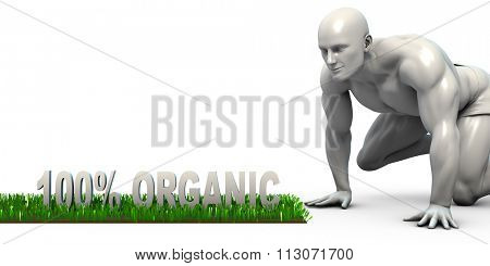 100% Organic Concept with Man Looking Closely to Verify