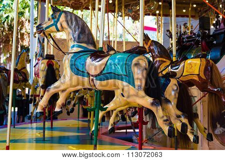 Wooden Horses On Merry-go-round Carousel