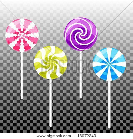 Sweet lollipop candy set. Colorful sugar canes.