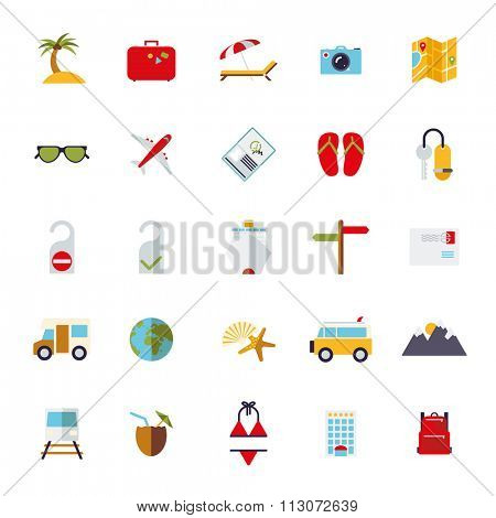 Flat Design Travel and Vacation Icon Set. Collection of flat design travel and vacation vector icons