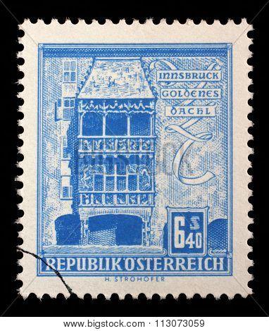 AUSTRIA - CIRCA 1960: a stamp printed in the Austria shows Golden Roof, Innsbruck, circa 1960