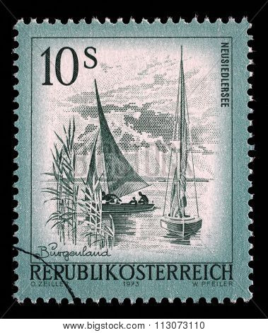AUSTRIA - CIRCA 1973: A stamp printed in Austria from the Views issue shows Neusiedlersee lake, circa 1973.